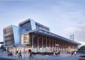 某详细的小车站建筑设计SU(草图大师)模型