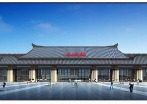 某古典中式火车站独特建筑设计SU(草图大师)模型