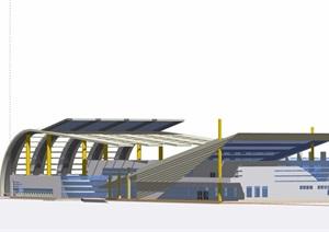 车站详细完整建筑设计SU(草图大师)模型