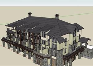北美式酒店公寓详细建筑设计SU(草图大师)模型