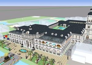 详细的整体美式酒店建筑设计SU(草图大师)模型