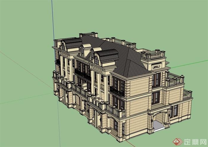 欧式详细的小区别墅项目建筑su模型