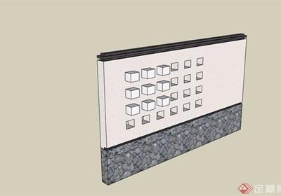 详细的完整中式景墙设计su模型