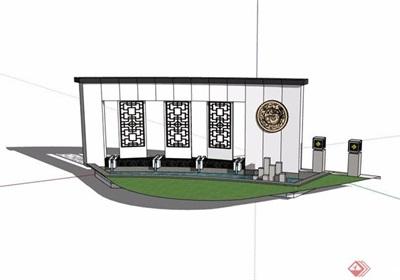 中式独特的水池景墙素材设计su模型