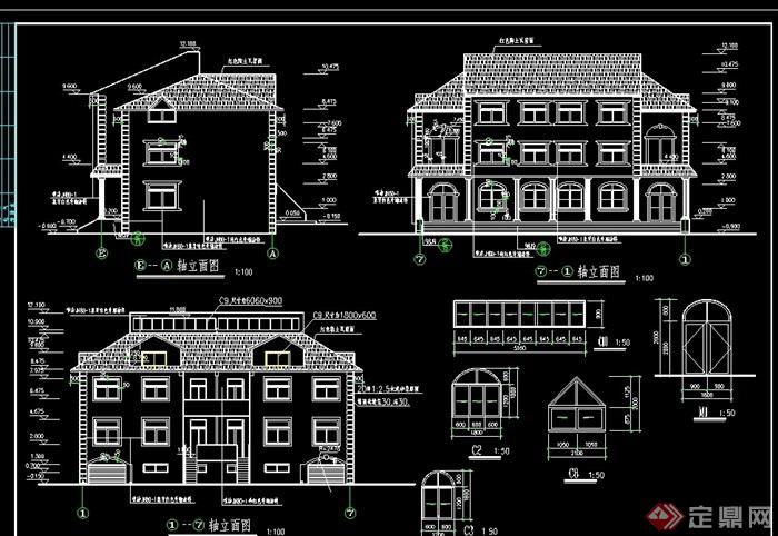 欧式错层别墅建筑设计cad施工图图片