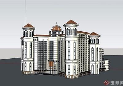 某欧?#36739;?#32454;的高层星级酒店设计su模型