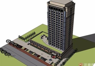 详细的整体完整星级酒店设计su模型