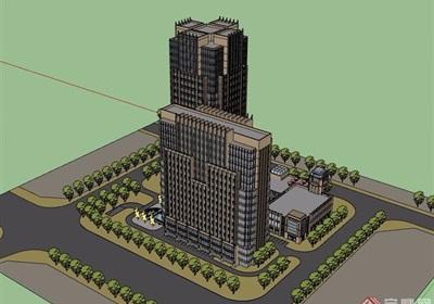 新古典风格酒店办公详细建筑su模型
