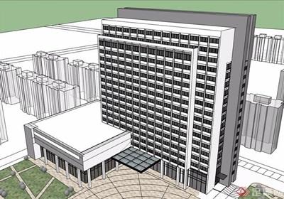 酒店整体详细设计SU模型
