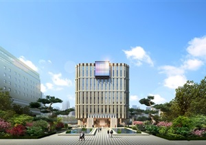 现代创意科技研发产业园创业园办公基地总部规划设计圆弧倒角办公楼