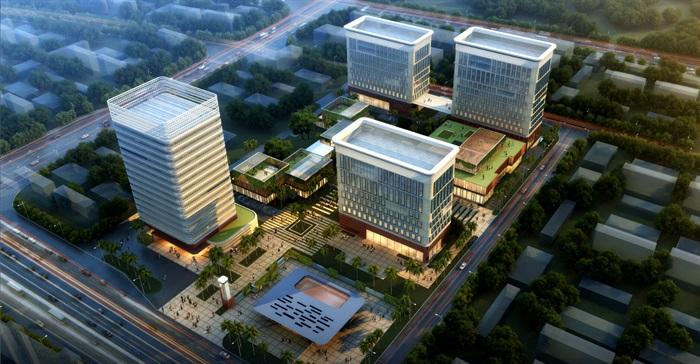 现代创意科技研发产业园创业园办公基地总部规划设计圆弧倒角办公楼图片