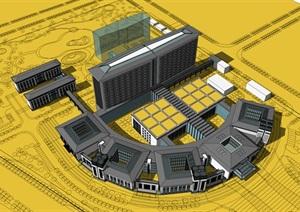 现代新中式大型中心圆弧发散式组团医院设计