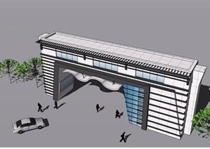 现代详细的小区大门设计SU(草图大师)模型