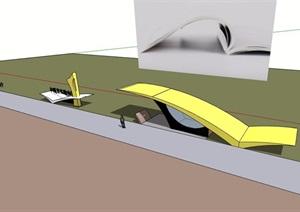 现代两个不同的大门素材设计SU(草图大师)模型