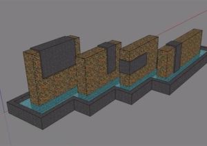 入口水系景观素材设计SU(草图大师)模型