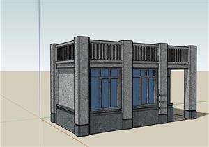 详细的门卫室大门素材设计SU(草图大师)模型