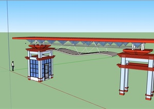 大门详细的整体完整设计SU(草图大师)模型