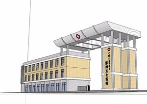 现代医院建筑大门素材SU(草图大师)模型