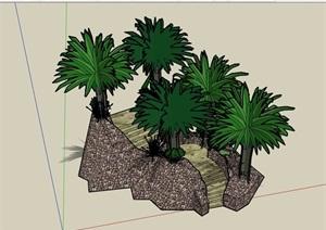 详细的楼梯种植池设计SU(草图大师)模型