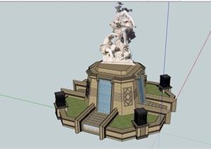 新古典风格雕塑小品素材设计SU(草图大师)模型