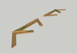 首層外擺坐凳素材設計SU(草圖大師)模型