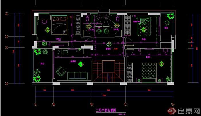 某別墅二層別墅詳細室內設計cad施工圖