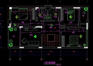 某别墅二层别墅详细室内设计cad施工图