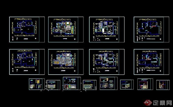 詳細的整體室內別墅空間cad施工圖