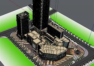 现代主义风格多层商业办公综合楼SU(草图大师)模型