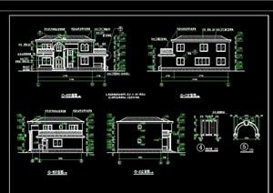 美式风格两层别墅设计cad全套图