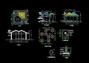 详细的整体完整双亭设计cad施工图