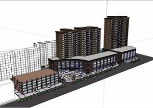 某现代商业住宅详细建筑设计SU(草图大师)模型