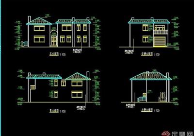 北美风情小别墅设计cad施工图