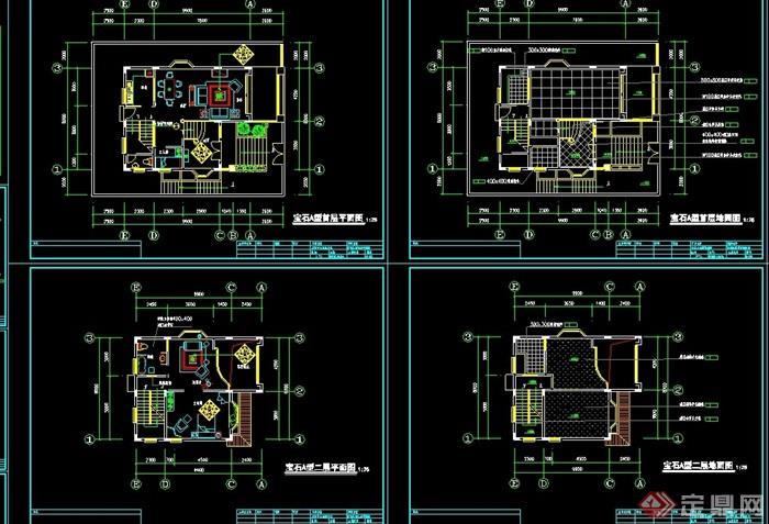 寶石E型別墅詳細建筑設計cad施工圖