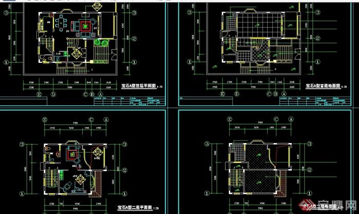某詳細的別墅室內裝飾cad施工圖