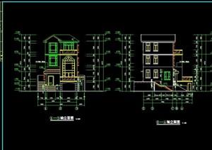 三层详细的住宅别墅设计cad施工图纸