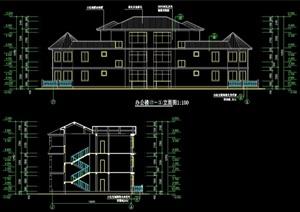 欧式多层别墅设计cad方案图纸