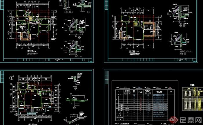 歐式詳細的多層別墅設計cad全套圖
