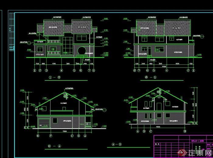 中式山庄别墅建筑设计cad施工图纸