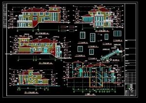 欧式详细的经典完整别墅cad施工图