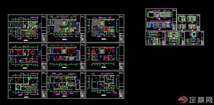 H型別墅室內裝飾設計cad施工圖