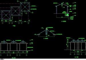 详细的整体完整亭子设计cad施工图