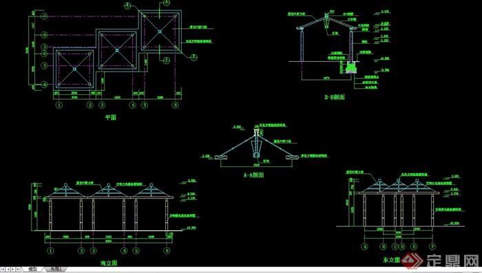 詳細的整體完整亭子設計cad施工圖
