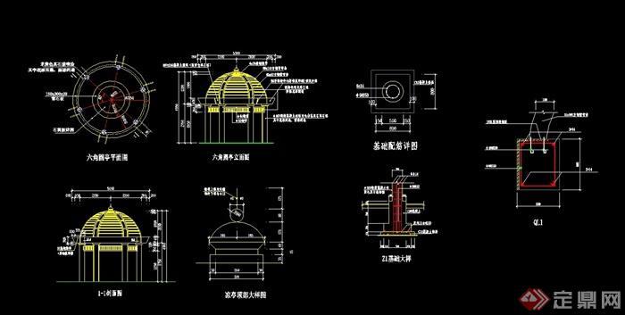歐式詳細的完整亭子設計cad施工圖