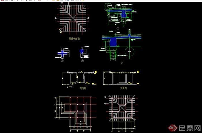 某獨特詳細的完整亭子設計cad施工圖