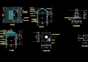 中式详细的完整亭子素材设计cad施工图