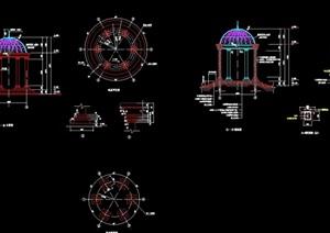 圆形详细的欧式亭子设计cad施工图