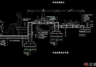 詳細的整體完整的樹池設計cad施工圖
