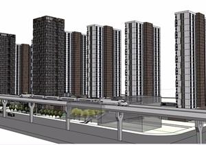 现代详细的完整高层商住楼设计SU(草图大师)模型