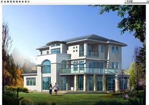 3层现代别墅cad方案图纸带效果图